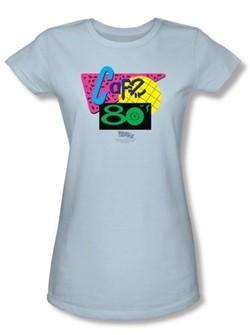 Back To The Future II Juniors T-shirt Movie Cafe 80s Light Blue Shirt