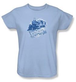 Back To The Future III Ladies T-shirt Movie Time Train Blue Tee Shirt
