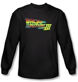 Back To The Future III Long Sleeve T-shirt Movie Logo Black Tee Shirt