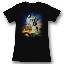 Back To The Future Juniors Shirt BTF Poster Black Tee T-Shirt