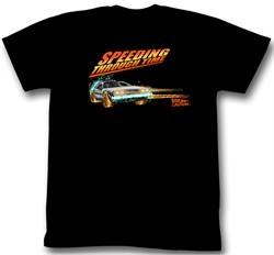 Back To The Future Shirt Speeding Through Time Adult Black Tee T-Shirt