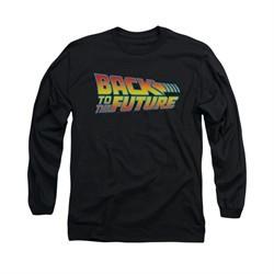 Back To The Future Shirt Logo Long Sleeve Black Tee T-Shirt