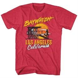 Baywatch Shirt Lifeguard Station Heather Red T-Shirt