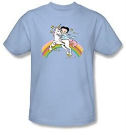 Betty Boop Kids T-shirt Unicorn And Rainbows Youth Light Blue Tee