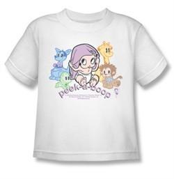 Betty Boop Kids T-shirt Peek A Boo Youth White Tee Shirt
