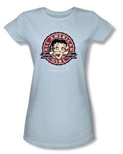 Betty Boop Juniors T-shirt All American Girl Light Blue Tee