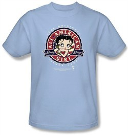 Betty Boop Kids T-shirt All American Girl Youth Light Blue Tee Shirt