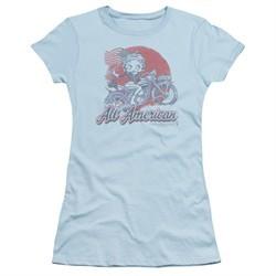 Betty Boop Juniors Shirt All American Biker Light Blue T-Shirt