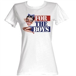 Betty Boop Juniors T-shirt For The Boys White Tee Shirt