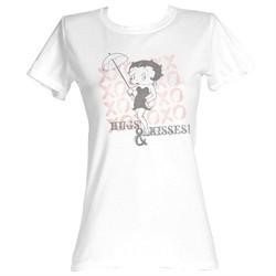 Betty Boop Juniors T-shirt Hugs And Kisses White Tee Shirt