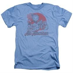 Betty Boop Shirt All American Biker Heather Light Blue T-Shirt