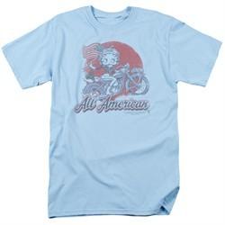 Betty Boop Shirt All American Biker Light Blue Tee T-Shirt