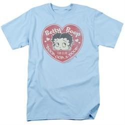 Betty Boop Shirt Fan Club Heart Light Blue Tee T-Shirt