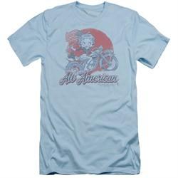 Betty Boop Slim Fit Shirt All American Biker Light Blue T-Shirt