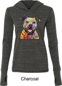 Beware of Pit Bulls Ladies Tri Blend Hoodie Shirt