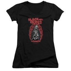 Black Veil Brides Juniors V Neck Shirt Santa Muerte Black T-Shirt