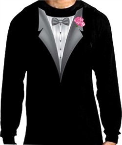 Tuxedo T-shirt Long Sleeve with Pink Flower
