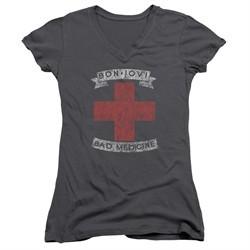 Bon Jovi Juniors V Neck Shirt Bad Medicine Charcoal T-Shirt