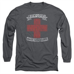 Bon Jovi Long Sleeve Shirt Bad Medicine Charcoal Tee T-Shirt