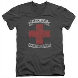 Bon Jovi Slim Fit V-Neck Shirt Bad Medicine Charcoal T-Shirt
