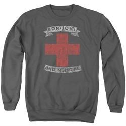 Bon Jovi Sweatshirt Bad Medicine Adult Charcoal Sweat Shirt