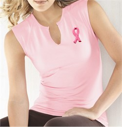Breast Cancer Ladies Shirt Embroidered Ribbon Sleeveless Slit-V Tee
