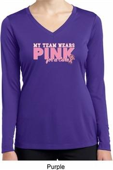 Breast Cancer My Team Wears Pink Ladies Dry Wicking Long Sleeve Shirt
