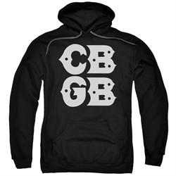 CBGB Hoodie Stacked Logo Black Sweatshirt Hoody