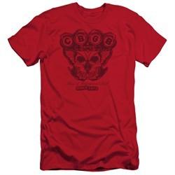 CBGB Shirt Slim Fit Moth Skull Red T-Shirt
