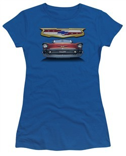 Chevy Juniors Shirt 1957 Bel Air Grille Royal Blue T-Shirt