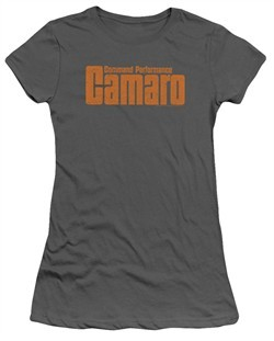 Chevy Juniors Shirt Camaro Command Performance Charcoal T-Shirt