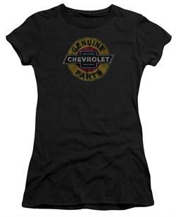 Chevy Juniors Shirt Genuine Parts Distressed Sign Black T-Shirt