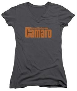Chevy Juniors V Neck Shirt Camaro Command Performance Charcoal T-Shirt