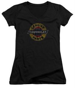 Chevy Juniors V Neck Shirt Genuine Parts Distressed Sign Black T-Shirt