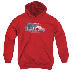 Chevy Kids Hoodie See The USA Chevrolet Red Youth Hoody