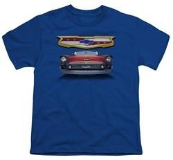 Chevy Kids Shirt 1957 Bel Air Grille Royal Blue T-Shirt