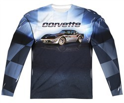 Chevy Long Sleeve Blue Corvette Vette Check Flag Sublimation Shirt Front/Back Print
