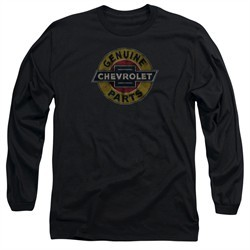 Chevy Long Sleeve Shirt Genuine Parts Distressed Sign Black Tee T-Shirt