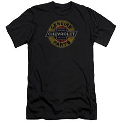 Chevy Slim Fit Shirt Genuine Parts Distressed Sign Black T-Shirt