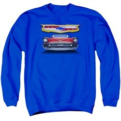 Chevy Sweatshirt 1957 Bel Air Grille Adult Royal Blue Sweat Shirt