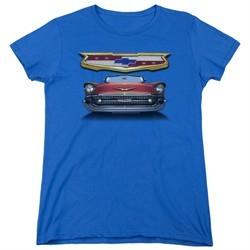 Chevy Womens Shirt 1957 Bel Air Grille Royal Blue T-Shirt