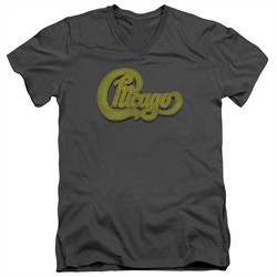 Chicago Shirt Slim Fit V-Neck Distressed Logo Charcoal T-Shirt