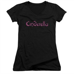 Cinderella Shirt Juniors V Neck Scratched Logo Black T-Shirt