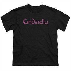 Cinderella Shirt Kids Scratched Logo Black T-Shirt