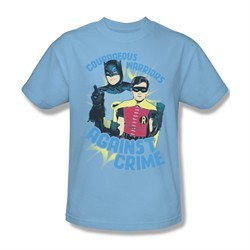 Classic Batman Shirt Against Crime Light Blue T-Shirt