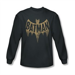 Classic Batman Shirt Distressed Logo Long Sleeve Charcoal Tee T-Shirt