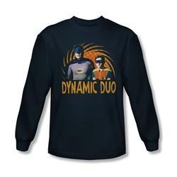 Classic Batman Shirt Dynamic Duo Long Sleeve Navy Tee T-Shirt