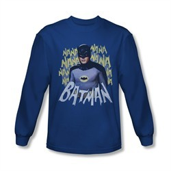 Classic Batman Shirt Theme Song Long Sleeve Royal Blue Tee T-Shirt