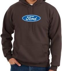 Ford Logo Hoodie Hooded Sweatshirt Oval Emblem Adult Brown Hoody