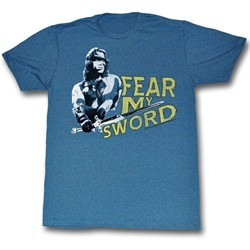 Conan the Barbarian Shirt Fear My Sword Slate Blue T-Shirt
